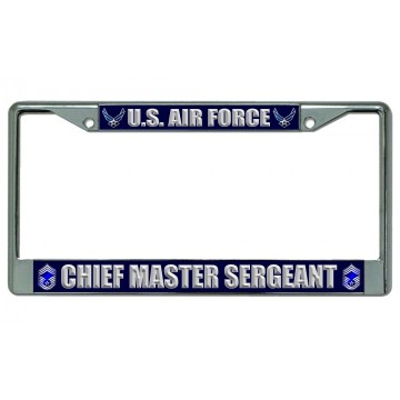 U.S. Air Force Chief Master Sergeant Chrome License Plate Frame