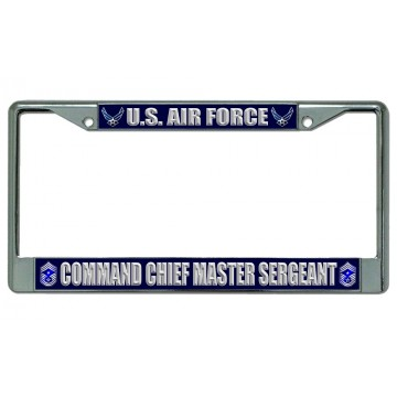 U.S. Air Force Command Chief Master Sergeant Chrome License Plate Frame