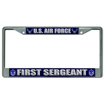 U.S. Air Force First Sergeant Chrome License Plate Frame