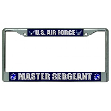 U.S. Air Force Master Sergeant Chrome License Plate Frame