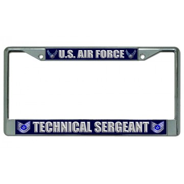 U.S. Air Force Technical Sergeant Chrome License Plate Frame