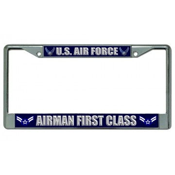 U.S. Air Force Airman First Class Chrome License Plate Frame