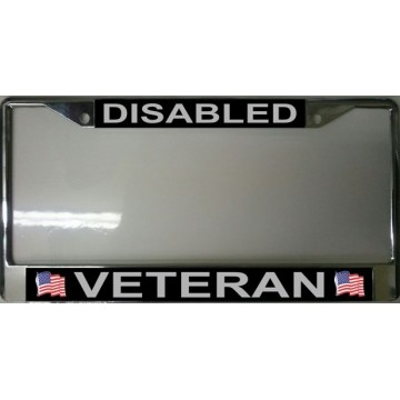 Disabled Veteran Chrome License Plate Frame