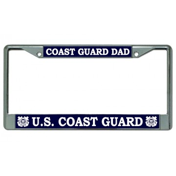 Coast Guard Dad Chrome License Plate Frame