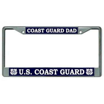 Coast Guard Dad Chrome License Plate Frame