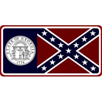 Georgia State Flag Photo License Plate