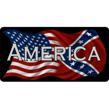 America On U.S. And Confederate Rebel Flag Photo License Plate