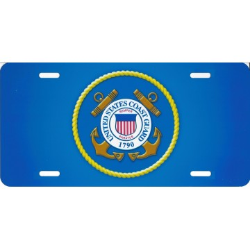 United States Coast Guard Blue Photo License Plate