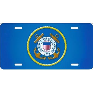 United States Coast Guard Blue Photo License Plate