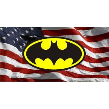 Batman Logo With American Flag Photo License Plate