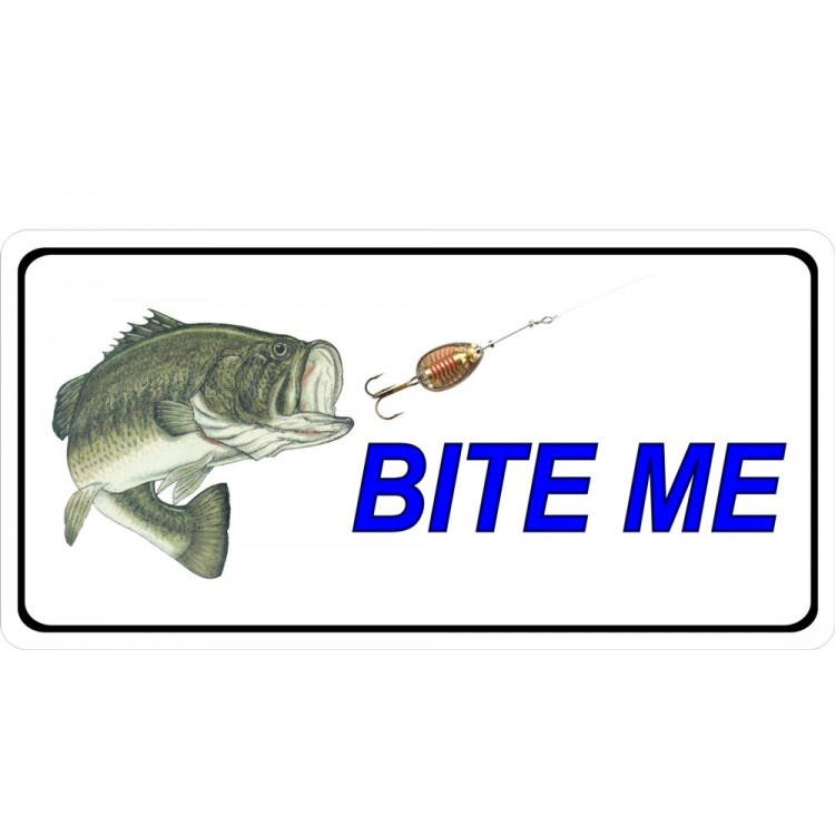 Bite Me Bass Fish And Lure Photo License Plate