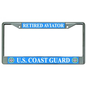U.S. Coast Guard Retired Aviator Chrome License Plate Frame