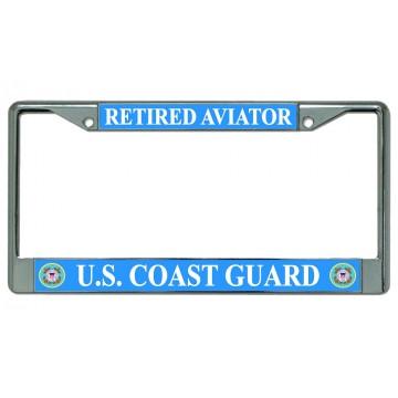 U.S. Coast Guard Retired Aviator Chrome License Plate Frame