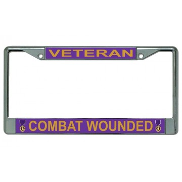 Combat Wounded Veteran Chrome License Plate Frame