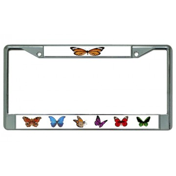 Butterflies Chrome License Plate Frame
