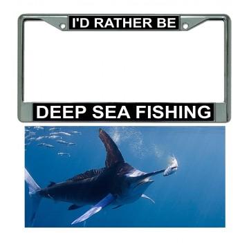Deep Sea Fishing Chrome Frame And Marlin Plate Combo