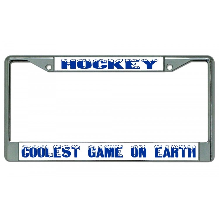 Hockey Coolest Game On Earth Chrome License Plate Frame
