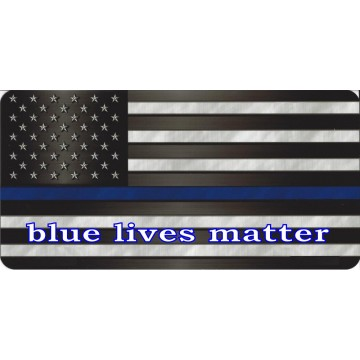 Blue Lives Matter On American Flag Photo License Plate