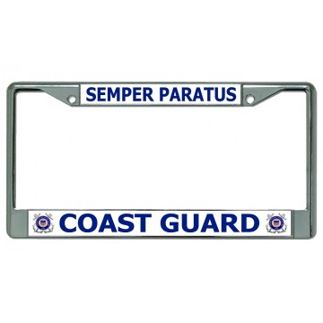 Coast Guard Semper Paratus Chrome License Plate Frame