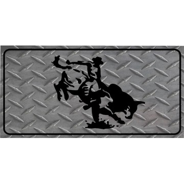 Bull Rider Diamond Photo License Plate