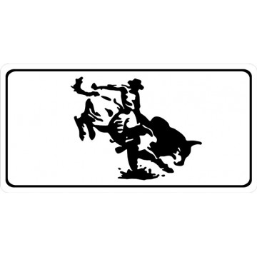 Bull Rider White Photo License Plate