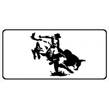 Bull Rider White Photo License Plate