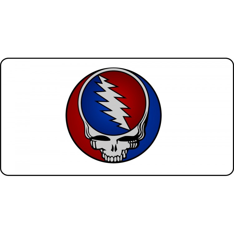 Grateful Dead On White Photo License Plate
