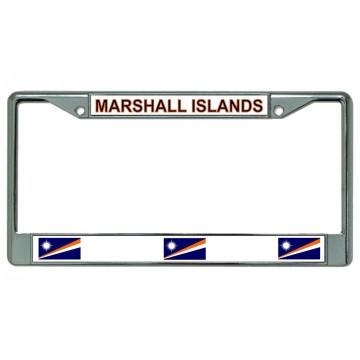 Marshall Islands Chrome License Plate Frame