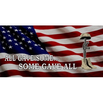 All Gave Some Battlefield Cross American Flag Photo License Plate