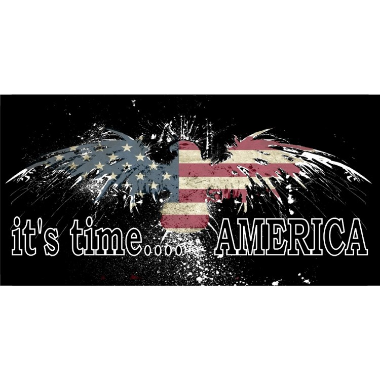 It's Time America Fireworks Eagle With United States Flag Photo License Plate