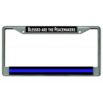 Blessed Are The Peacemakers Thin Blue Line Chrome License Plate Frame