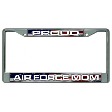 Proud Air Force Mom Chrome License Plate Frame