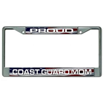 Proud Coast Guard Mom Chrome License Plate Frame