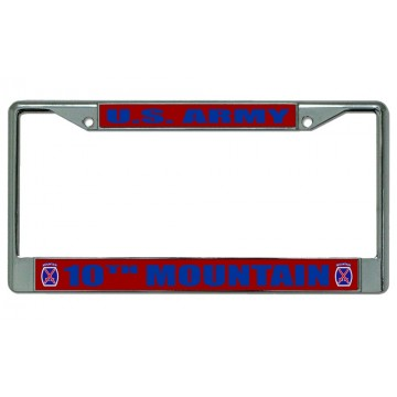 U.S. Army 10th Mountain Chrome License Plate Frame