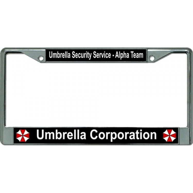 Umbrella Corporation Alpha Team Chrome License Plate Frame