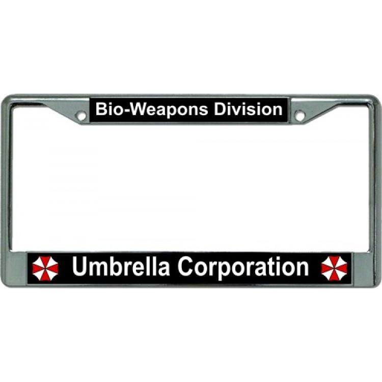 Umbrella Corporation Bio Weapons Chrome License Plate Frame