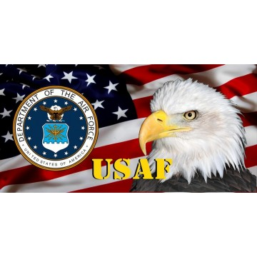 USAF Emblem, Eagle & Flag Photo License Plate