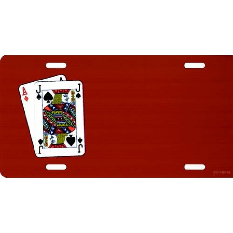 Offset Blackjack Playing Cards On Red Photo License Plate