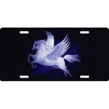 Centered Pegasus On Black Photo License Plate