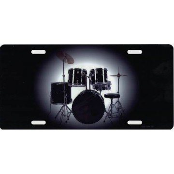 Centered Drum Set Photo License Plate
