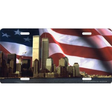 Twin Towers On American Flag Photo License Plate