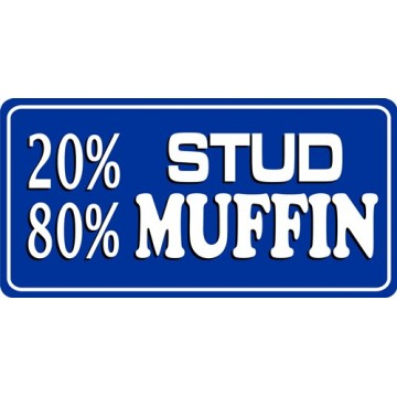 20% Stud 80% Muffin Photo License Plate