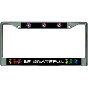 Be Grateful Chrome License Plate Frame