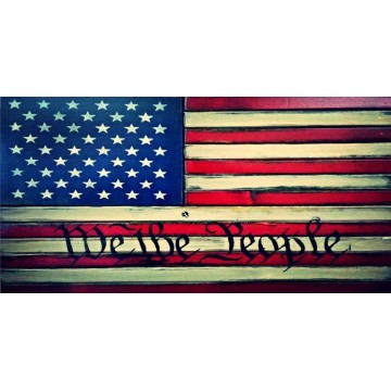 We The People American Flag Photo License Plate