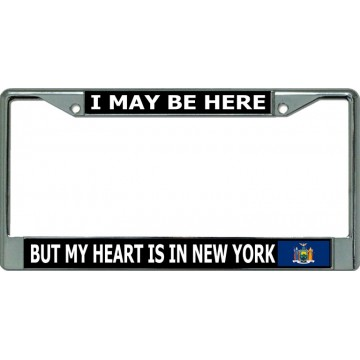 My Heart Is In New York Chrome License Plate Frame
