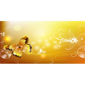 Yellow Butterfly Offset Photo License Plate