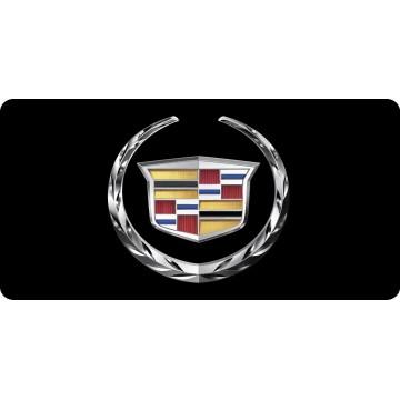 Cadillac Emblem On Black Photo License Plate