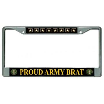 Proud Army Brat Chrome License Plate Frame