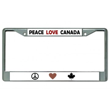 Peace Love Canada Chrome License Plate Frame
