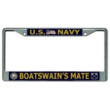 U.S. Navy Boatswain's Mate Chrome License Plate Frame